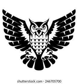 Owl with open wings and claws. Black and white tattoo of eagle owl, front view. Qualitative vector illustration for circus, sports mascot, zoo, wildlife, nature, etc. It has only solid color