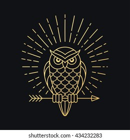 Owl outline emblem in geometric hipster style with arrow and beams. Golden symbol on black background. Vector illustration.