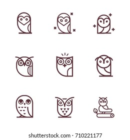 Owl outline icons collection. Vector Set of outline owls.