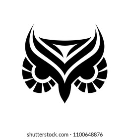 Owl outlined head tattoo style for your project