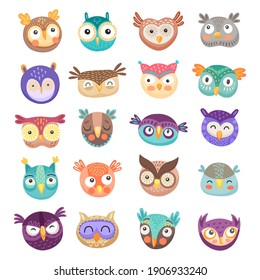 Owl and owlet faces cartoon vector of cute birds of prey with colorful feathers and funny big eyes. Happy barn, eagle and long eared owls for children comic emoji, emoticon or avatar design