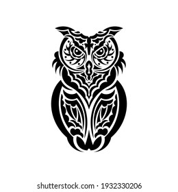 Owl owls from the patterns of Samoa. Isolated on white background. Vector illustration.