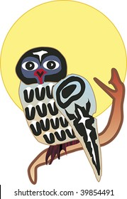 Owl perched on a tree branch before yellow moon rendered in Northwest Coast Native style.