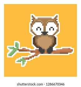 owl in pixel art