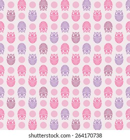 Owl and polka dot themed, seamless pattern for fashion (pajama, t-shirt, baby.)