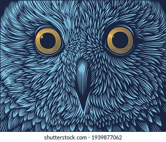 Owl portrait. Art detailed editable illustration. Vector vintage engraving. 8 EPS