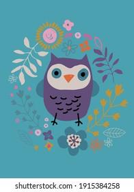 owl poster. Owl design for girls. owl t shirt print pattern