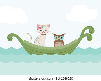 The Owl and the Pussycat sailing in a beautiful pea green boat