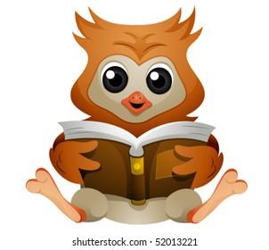 Owl reading book - Vector