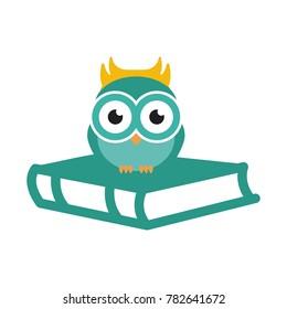 owl reading a book vector illustration