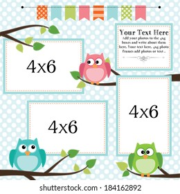 Owl scrapbooking template with banner or bunting and 4x6 frames for photos or text, vector format.
