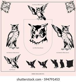Owl. Set of heraldic figures.