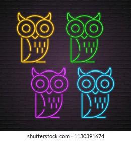 Owl Set Icons Neon Light Glowing Vector Illustration Vector