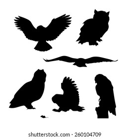 Owl set of silhouettes vector