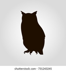 Owl silhouette flat isolated vector icon