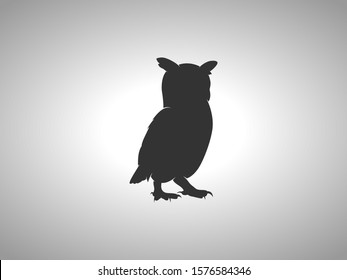 Owl Silhouette on White Background. Isolated Vector Animal