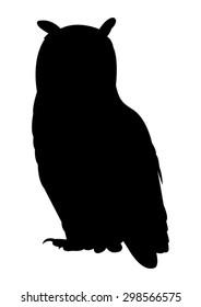Owl Silhouette on White Background