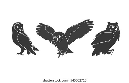 owl silhouettes on the white background