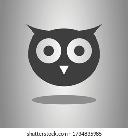 Owl simple icon with shadow. Flat desing