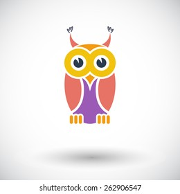 Owl. Single flat icon on white background. Vector illustration.