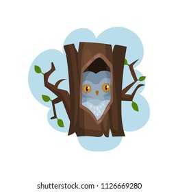 Owl sitting in hollow of tree, hollowed out old tree and bird inside vector Illustration on a white background