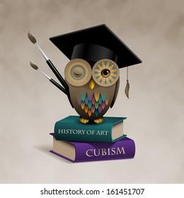 Owl sitting on books, concept of art education, eps10 vector