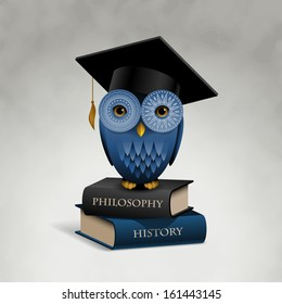 Owl sitting on books, eps10 vector