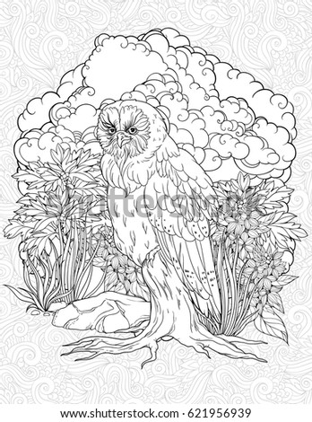 Owl Sitting On Old Tree Coloring Stock Vector Royalty Free