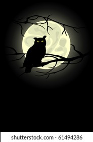 Owl sitting on a tree in the Moon