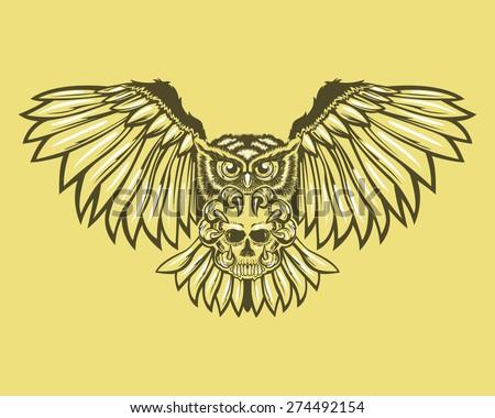 Owl Skull Decoration Tattoo Tribal Gothic Stock Vektorgrafik