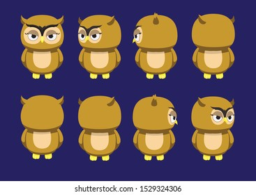 Owl Spinning Head Character Animation Cartoon Vector Illustration