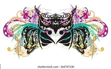 Owl splashes. Grunge tribal owl splashes with open wings, floral elements and colorful drops