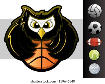 Owl sports team mascot with various sport ball icons/Vector Owl Mascot