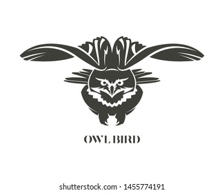 Owl with spread wings. Eagle owl bird silhouette.