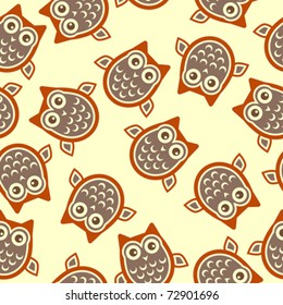 Owl square background over pale yellow color