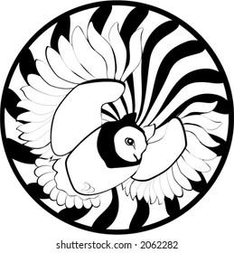 owl in swirling sphere