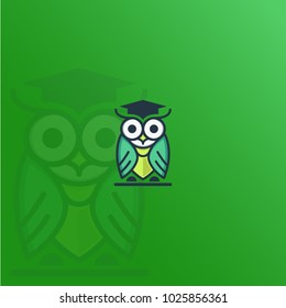 owl as a symbol of intelligence. tie and graduation cap as a symbol of jobseekers, employers and recruitment agencies.