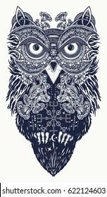 Owl tattoo art celtic style t-shirt design. Owl tattoo symbol of wisdom, meditation, thinking