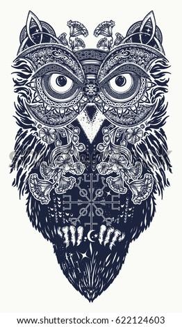 Owl Tattoo Art Celtic Style Tshirt Stock Vector Royalty Free