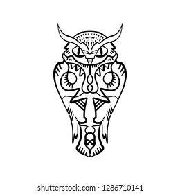Owl tattoo outline. Boho tribal style. Line ethnic ornaments. Poster, spiritual art, symbol of wisdom. Antistress art. Good for t-shirts design, bags, phone cases