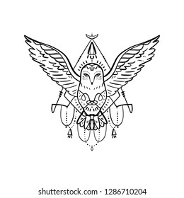 Owl tattoo outline. Boho tribal style. Line ethnic ornaments. Poster, spiritual art, symbol of wisdom. Antistress art. Good for t-shirts design, bags, phone cases, room posters and postcards