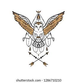 Owl tattoo outline. Boho tribal style. Line ethnic ornaments. Poster, spiritual art, symbol of wisdom. Antistress art