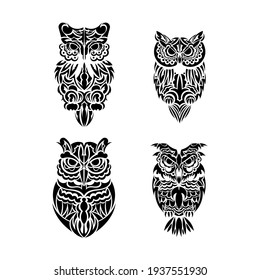 Owl tattoo set in boho style. Good for backgrounds and prints. Vector illustration.