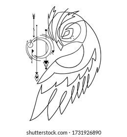Owl tattoo template. Owl tattoo vector illustration
