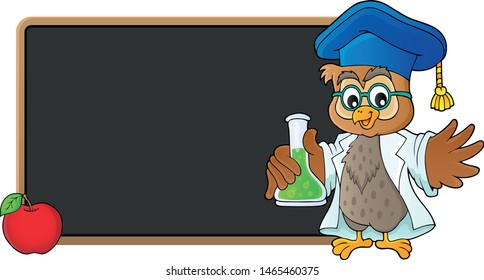 Owl teacher with chemical flask theme 3 - eps10 vector illustration.