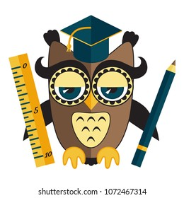 Owl teacher with pencil and ruler flat colorful education vector icon
