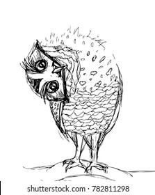 An owl tilted her head sideways, drawing black lines on a white background