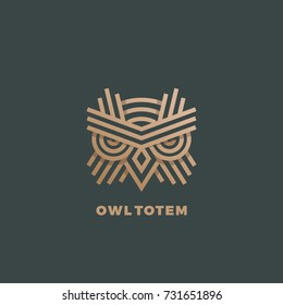 Owl Totem Abstract Vector Sign, Emblem or Logo Template. Golden Line Style Geometry Emblem. Dark Green Background.