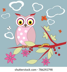 owl in a tree surrounded by flowers, butterflies and clouds