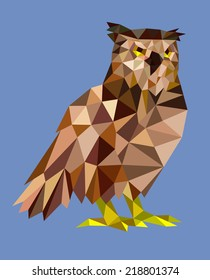Owl triangle low polygon style. Good use for sticker design, icon, symbol, avatar, or any design you want. Easy to use.